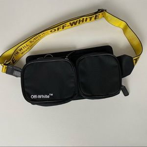 OFF WHITE MENS CORDURA LOGO PRINT BELT BAG